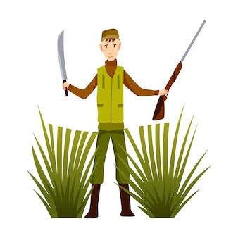 Jägercharakter mit gewehr und schwert