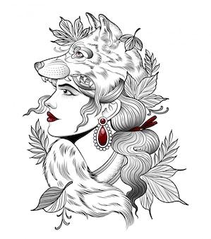 Jägerin in der maske eines grauen wolfes