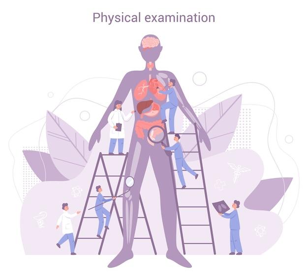 Jährliche und vollständige gesundheitsuntersuchung des inneren organs. ärzte, die männliche patienten untersuchen, die herz, lunge und verdauungssystem überprüfen. idee der gesundheitsversorgung und krankheitsdiagnose.