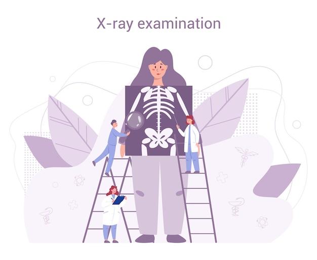 Jährliche und vollständige gesundheitsuntersuchung des menschlichen keletons. ärzte, die patientin untersuchen, die röntgenbild prüft. idee der gesundheitsversorgung und krankheitsdiagnose.