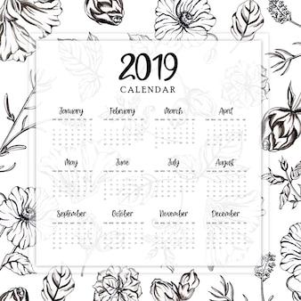 Jährlicher kalender 2019 mit aquarell-schwarzweiss-blumen