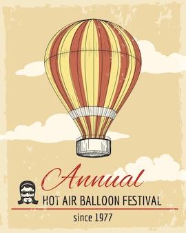 Jährliches festival der ballonfahrt retro-plakat