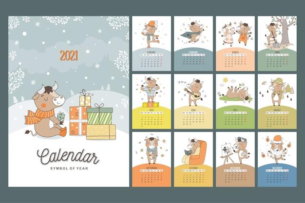 Jährliches kalenderkonzeptdesign