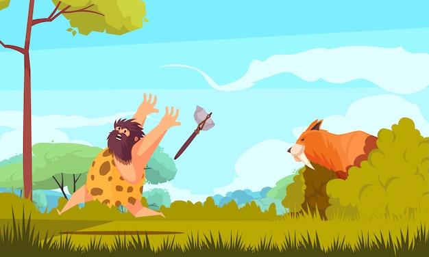 Jagd in der bunten illustration der steinzeit mit prähistorischem mann, der vom großen tierkarikatur läuft