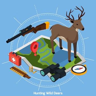 Jagd isometrisches konzept