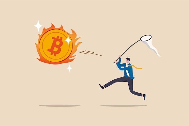 Jagd nach hochleistungs-bitcoin-kryptowährung im bullenmarkt, gierige spekulation im bitcoin-handelskonzept, gieriger geschäftsmann-investor, der versucht, heißes feuer zu fangen, das bitcoin fliegt.
