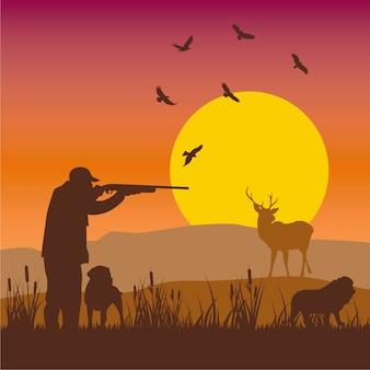 Jagd-sonnenuntergang
