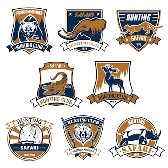 Jagdclub-embleme setzen ikonen und bänderillustration