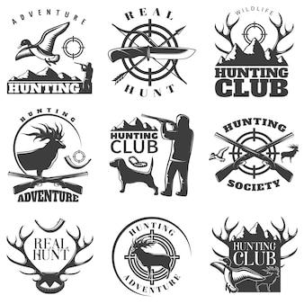 Jagdemblem gesetzt mit abenteuerjagdjagdverein und echte jagdbeschreibungsvektorillustration