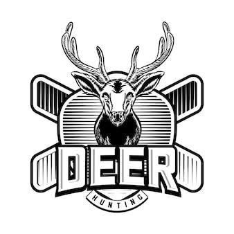 Jagdlogo-vektor-abzeichen-emblem mit hirsch