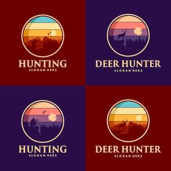 Jagdset mit hirsch-logo-design
