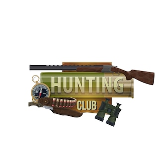 Jagdsportclub-symbol, jägerausrüstung und jagdmunition, vektorsymbol. afrikanische safari-jagd- und waldwildtier-trophäe offene saison-munitionsgewehrpistole, kugelpatronen-bandoleer und kompass