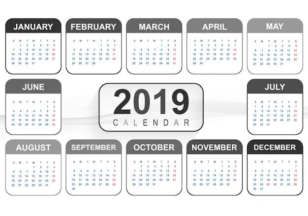 Jahr 2019, kalender kreatives design