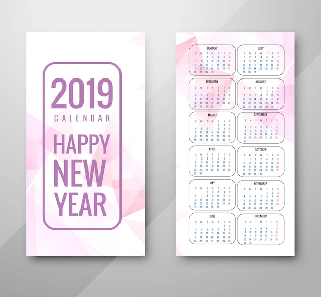 Jahr 2019, kalenderdesign