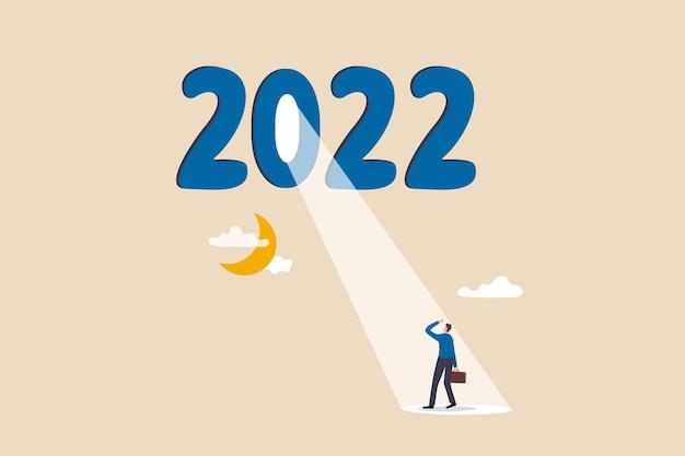 Jahr 2022 geschäftsmöglichkeit glänzende zukunft auf wirtschaftliche erholung hoffnung oder motivation zur überwindung di...