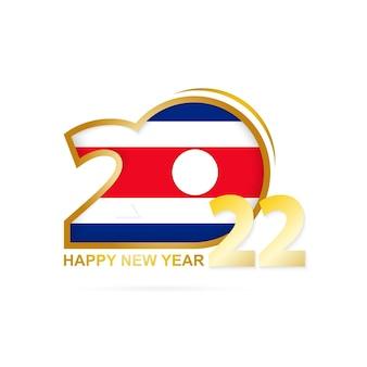 Jahr 2022 mit costa rica flaggenmuster. frohes neues jahr-design.