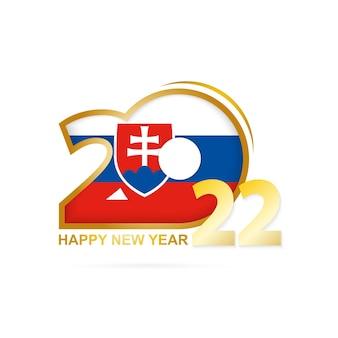 Jahr 2022 mit flaggenmuster der slowakei. frohes neues jahr-design.