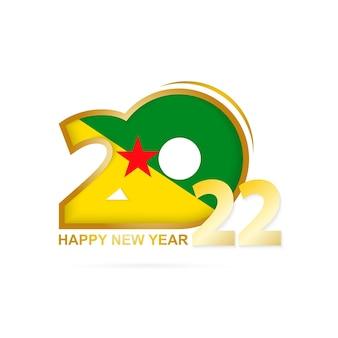 Jahr 2022 mit französisch-guayana-flaggenmuster. frohes neues jahr-design.