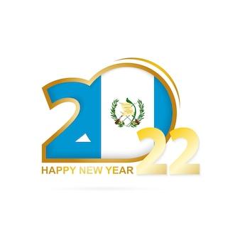 Jahr 2022 mit guatemala-flaggenmuster. frohes neues jahr-design.