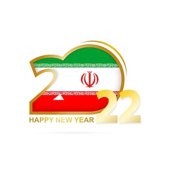 Jahr 2022 mit iran-flaggenmuster. frohes neues jahr-design.