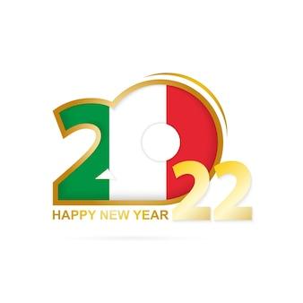 Jahr 2022 mit italien-flaggenmuster. frohes neues jahr-design.