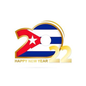 Jahr 2022 mit kuba-flaggenmuster. frohes neues jahr-design.