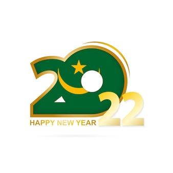 Jahr 2022 mit mauretanien-flaggenmuster. frohes neues jahr-design.