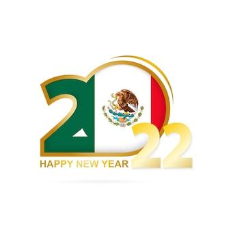 Jahr 2022 mit mexiko-flaggenmuster. frohes neues jahr-design.