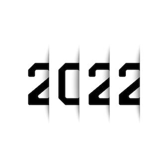 Jahr 2022 mit schatteneffekt auf weißem hintergrund. vektor-illustration.