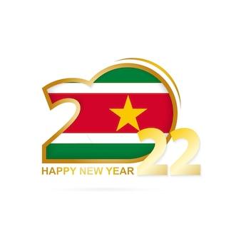 Jahr 2022 mit surinam flaggenmuster. frohes neues jahr-design.