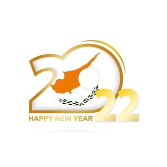 Jahr 2022 mit zypern-flaggenmuster. frohes neues jahr-design.