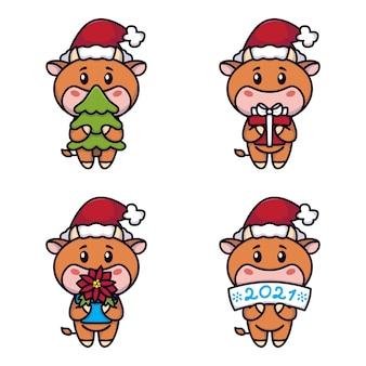 Jahr des ochsen. glückliche kühe eingestellt. niedliche stiere, die einen fichtenbaum, geschenk, weihnachtssternblume, zeichen halten. neujahr und frohe weihnachtskarte. chinesisches sternzeichen des jahres 2021.