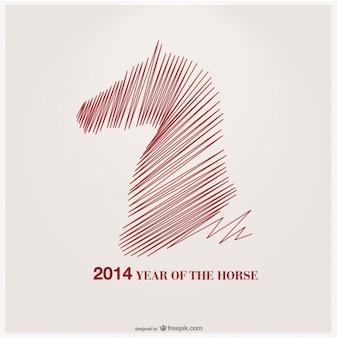 Jahr des pferdes vektor-design