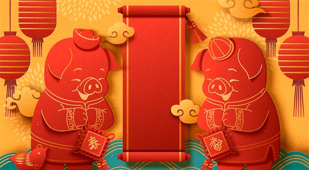 Jahr des schwein-poster-designs mit süßem schweinchen-gruß im papierkunststil
