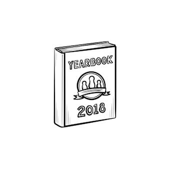 Jahrbuch handgezeichnete umriss-doodle-symbol. vektorskizzenillustration des fotojahrbuchs für druck, netz, handy und infografiken lokalisiert auf weißem hintergrund.