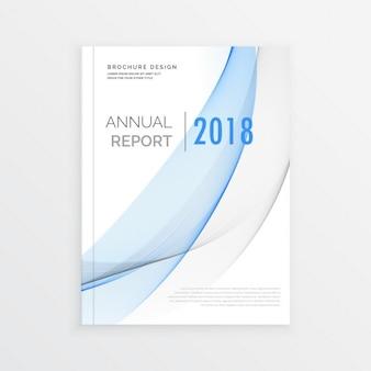 Jahresbericht broschüre design mit blauen ans graue welle