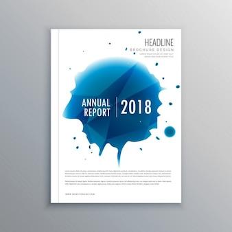 Jahresbericht broschüre flyer-design mit blauen tintentropfen