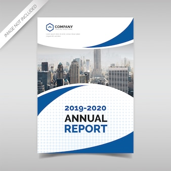 Jahresbericht-cover-vorlage mit blauen wellenformen