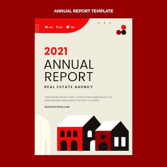 Jahresbericht der flachen abstrakten geometrischen immobilien