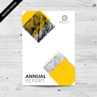 Jahresbericht designvorlage mit gelben diamanten und grauen cityline
