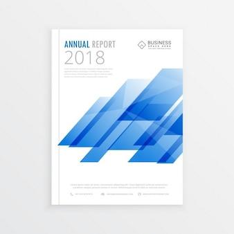 Jahresbericht mockup vorlagenseite broschüre design mit abstrakten blauen formen