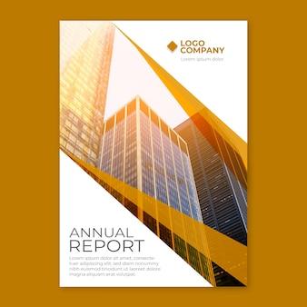Jahresbericht vorlage mit gebäude in der sonne