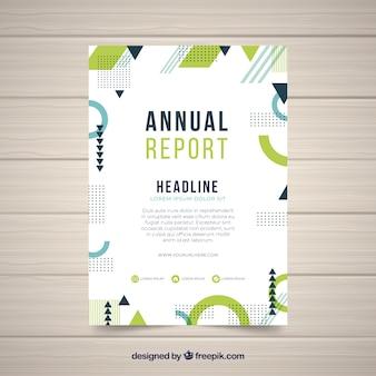 Jahresberichtabdeckung mit abstrakten formen