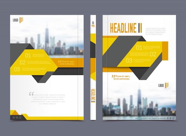 Jahresberichtbroschürendesign mit schlagzeile auf grauer hintergrundebene lokalisierte vektorillustration