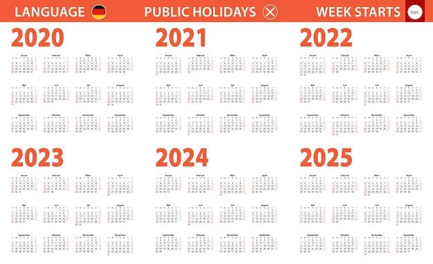 Jahreskalender 2020-2025 in deutscher sprache, woche beginnt am sonntag.