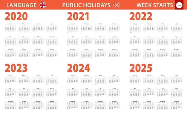 Jahreskalender 2020-2025 in englischer sprache, woche beginnt am sonntag.