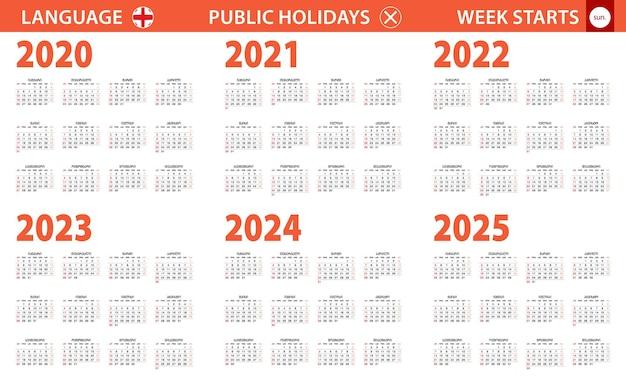 Jahreskalender 2020-2025 in georgischer sprache, woche beginnt am sonntag.