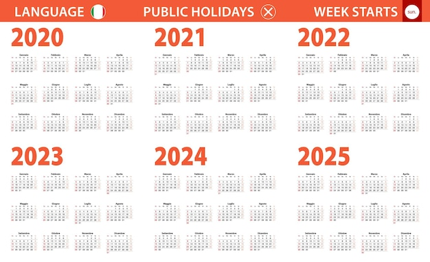 Jahreskalender 2020-2025 in italienischer sprache, woche beginnt am sonntag.