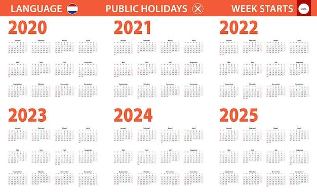 Jahreskalender 2020-2025 in niederländischer sprache, woche beginnt am sonntag.