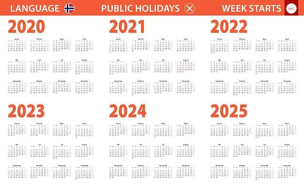 Jahreskalender 2020-2025 in norwegischer sprache, woche beginnt am sonntag.